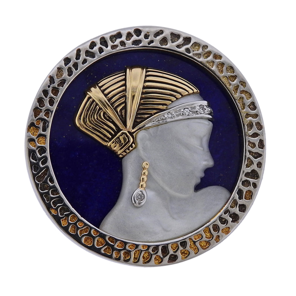 thumbnail image of Erte Love Enchantment Mother of Pearl Lapis Diamond Gold Silver Pendant Brooch