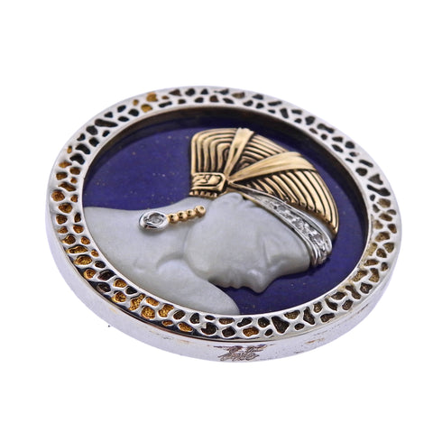 image of Erte Love Enchantment Mother of Pearl Lapis Diamond Gold Silver Pendant Brooch