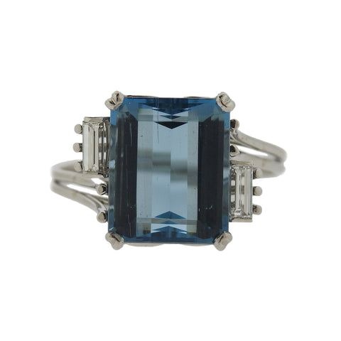 1950s 14k Gold 6ct Aquamarine Diamond Ring