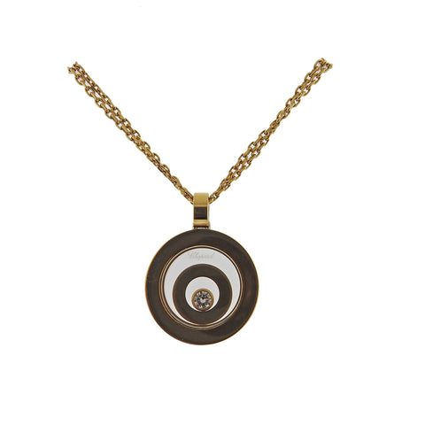 image of Chopard Happy Spirit 18k Gold Diamond Circle Pendant Necklace 79/5405