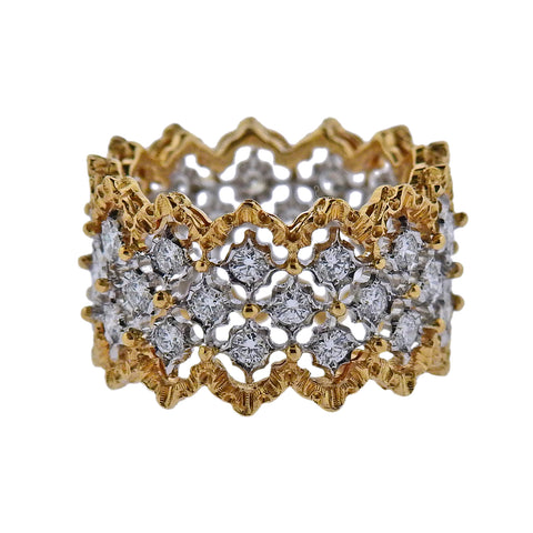 image of Buccellati Rombi Diamond Gold Wide Band Ring