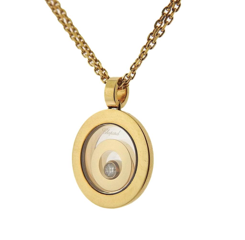 thumbnail image of Chopard Happy Spirit 18k Gold Diamond Circle Pendant Necklace 79/5405