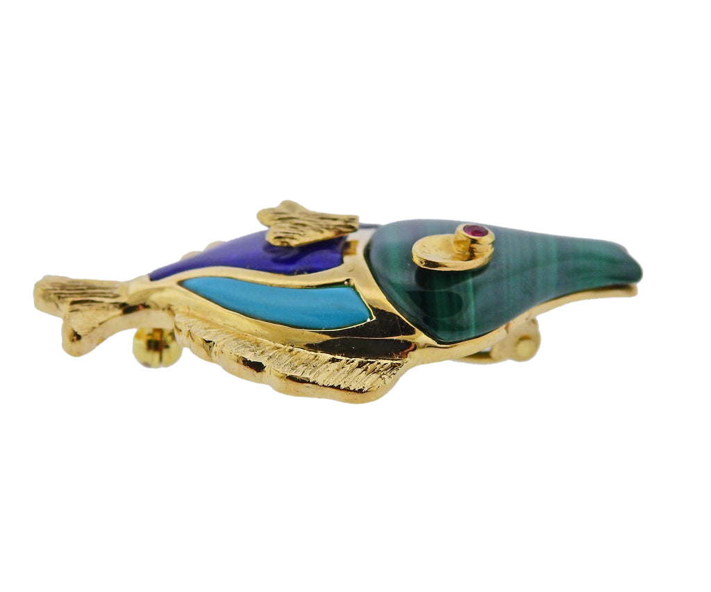 thumbnail image of Malachite Turquoise Lapis Onyx Ruby Gold Fish Brooch