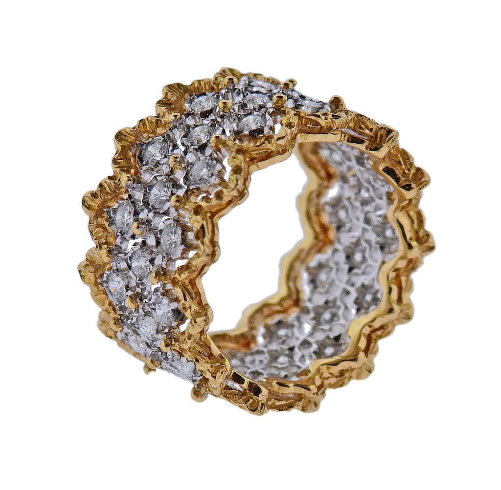 thumbnail image of Buccellati Rombi Diamond Gold Wide Band Ring