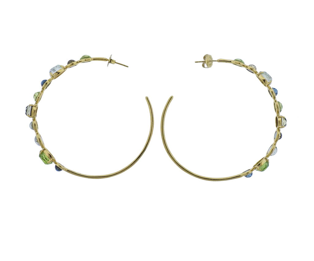 thumbnail image of Ippolita Rock Candy Gelato Tartan 18k Gold Hoop Earrings