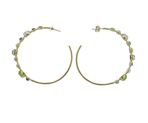 image of Ippolita Rock Candy Gelato Tartan 18k Gold Hoop Earrings