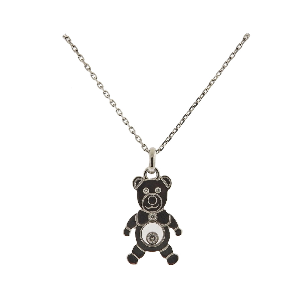 thumbnail image of Chopard Happy Diamonds 18k Gold Teddy Bear Pendant Necklace 79/5271