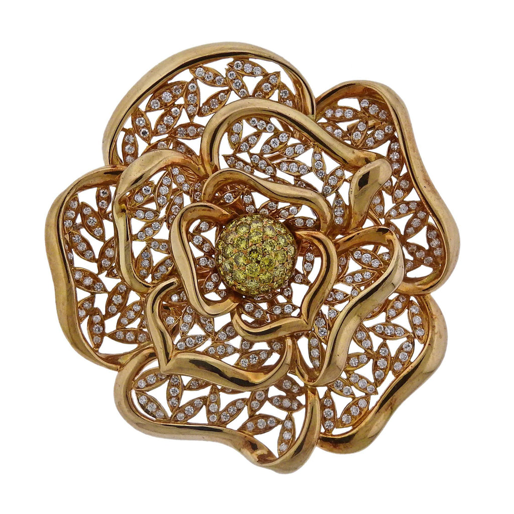 thumbnail image of Diamond Gold Large Flower Brooch Pendant