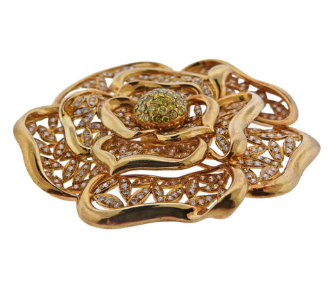 image of Diamond Gold Large Flower Brooch Pendant