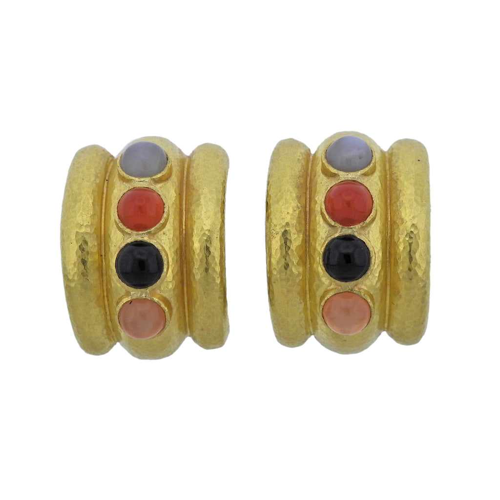 thumbnail image of Elizabeth Locke Multi Color Gemstone 19k Gold Hoop Earrings