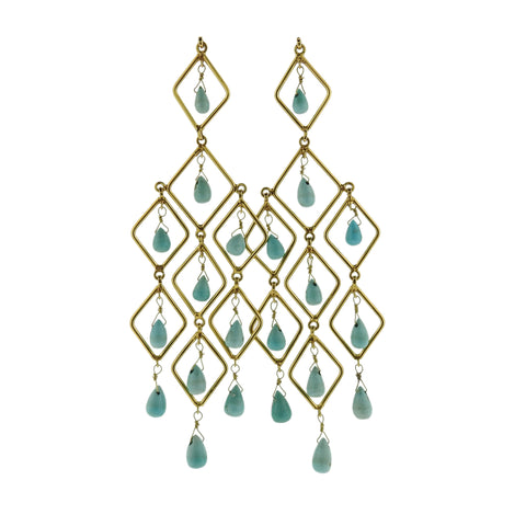 18k Gold Turquoise Chandelier Earrings