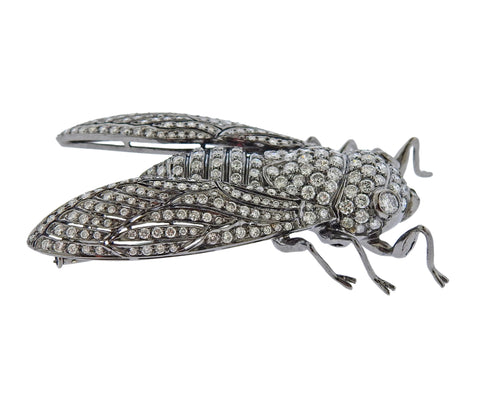image of 4 Carat Diamond Gold Cicada Insect Brooch Pin