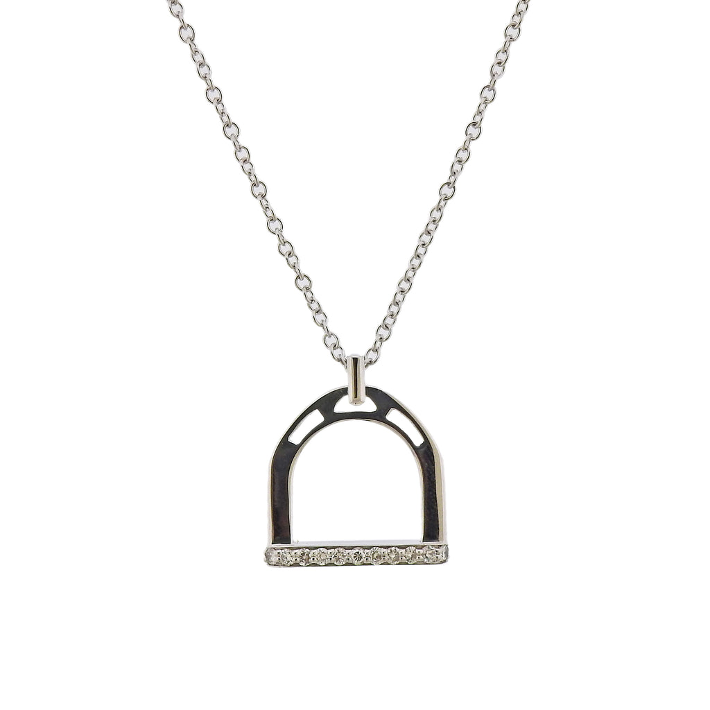 thumbnail image of Ubaldi Diamond White Gold Stirrup Pendant Necklace