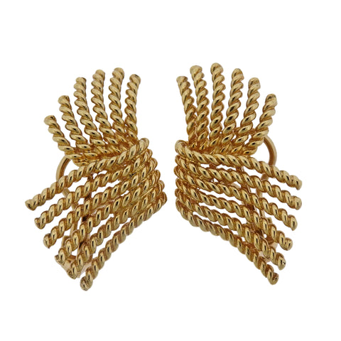 image of Tiffany & Co Schlumberger V Rope Gold Earrings