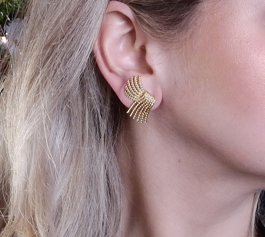 thumbnail image of Tiffany & Co Schlumberger V Rope Gold Earrings