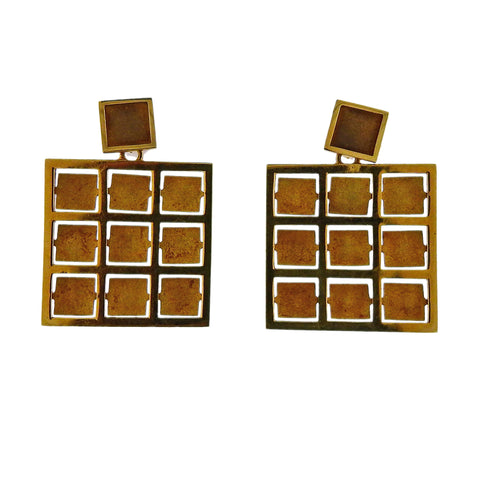 image of Antonio Bernardo Gold Square Earrings