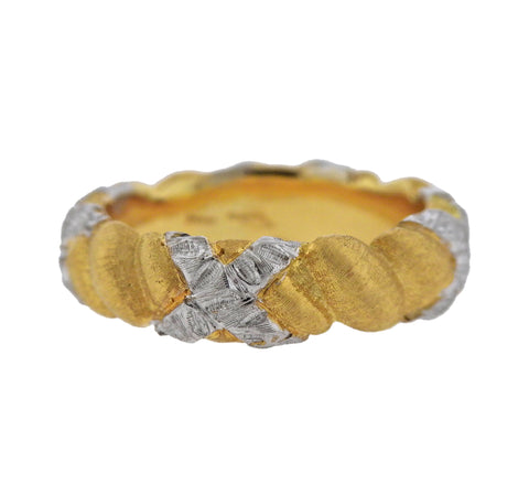 image of Buccellati Two Color Gold X Wedding Band Ring