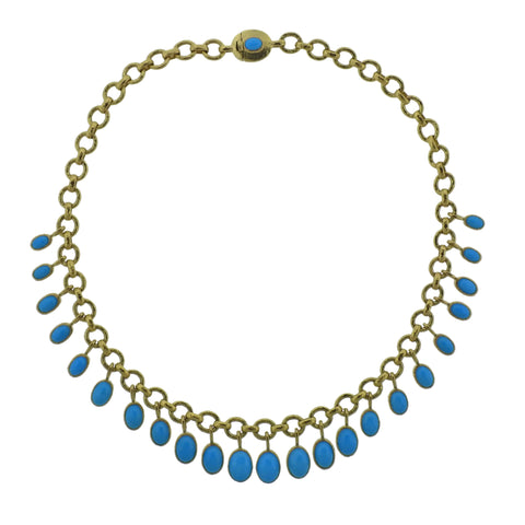 image of Elizabeth Locke Turquoise 19k Gold Necklace
