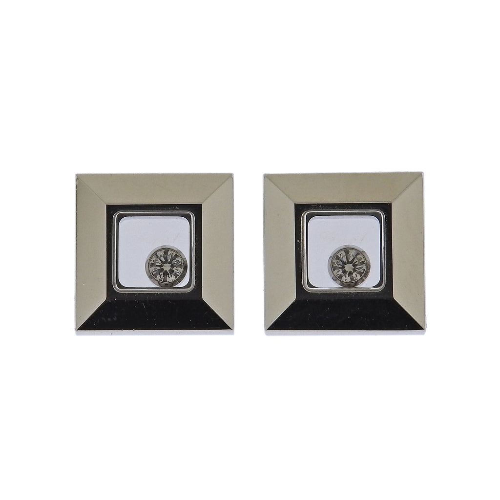 thumbnail image of Chopard Happy Diamonds 18k Gold Square Stud Earrings 83/2938