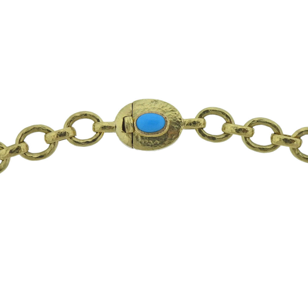 thumbnail image of Elizabeth Locke Turquoise 19k Gold Necklace