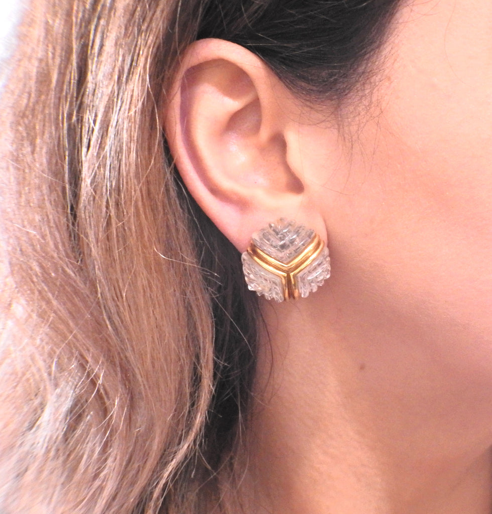 thumbnail image of Carved Crystal Gold Earrings