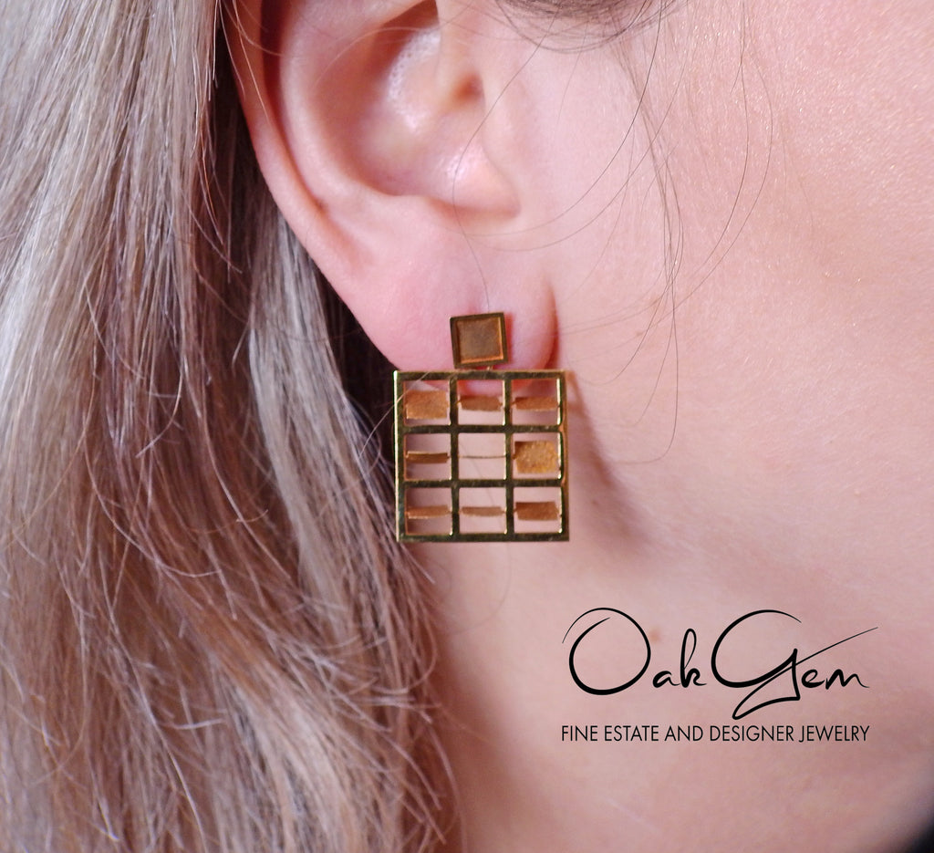 thumbnail image of Antonio Bernardo Gold Square Earrings