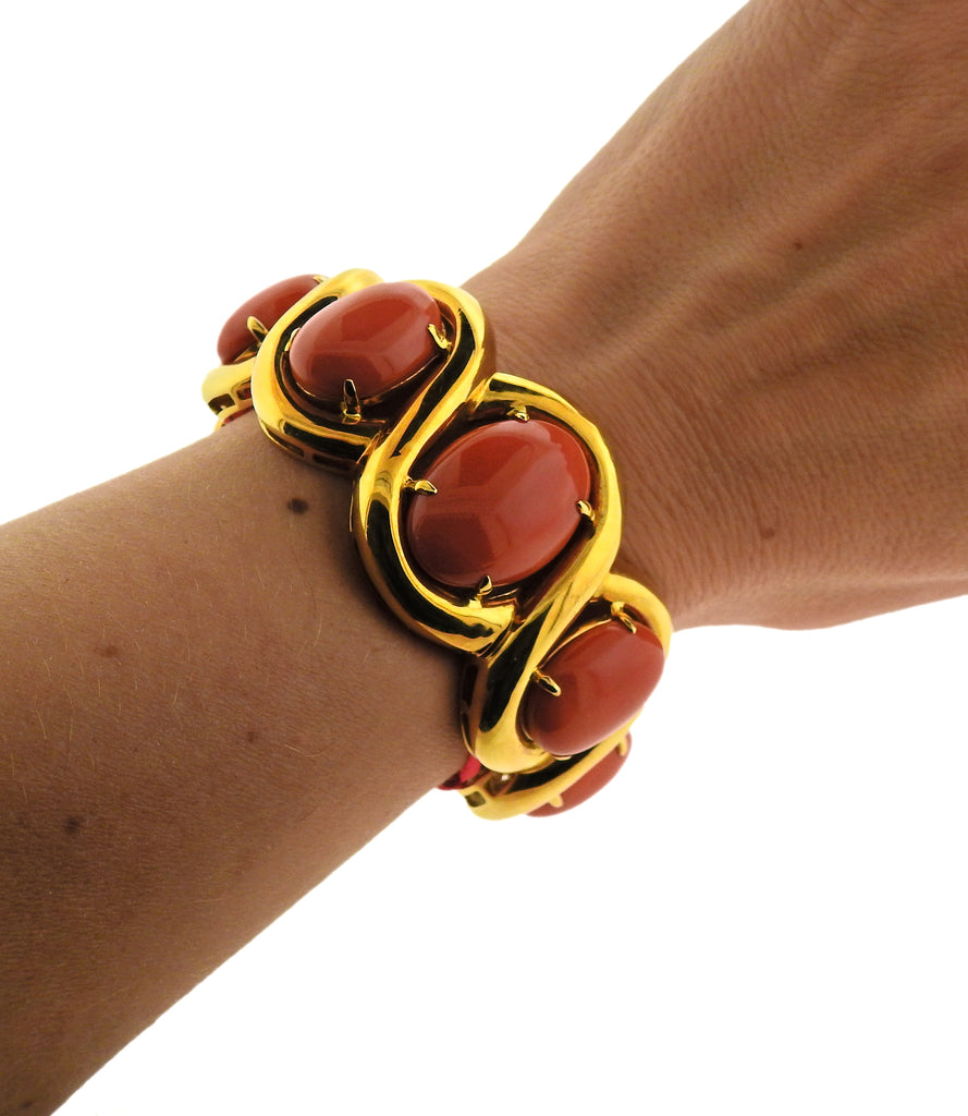 thumbnail image of Seaman Schepps Coral Gold Cuff Bracelet