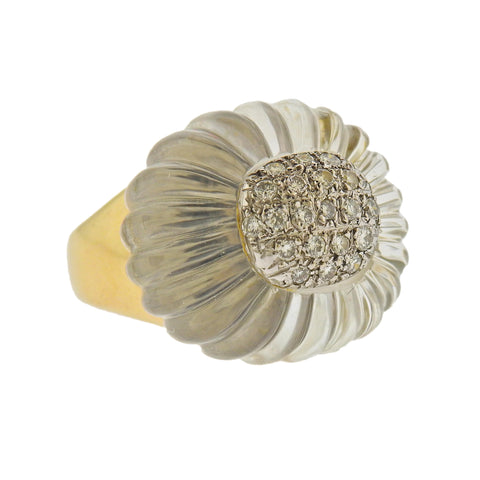 image of Maz Carved Crystal Diamond Gold Ring