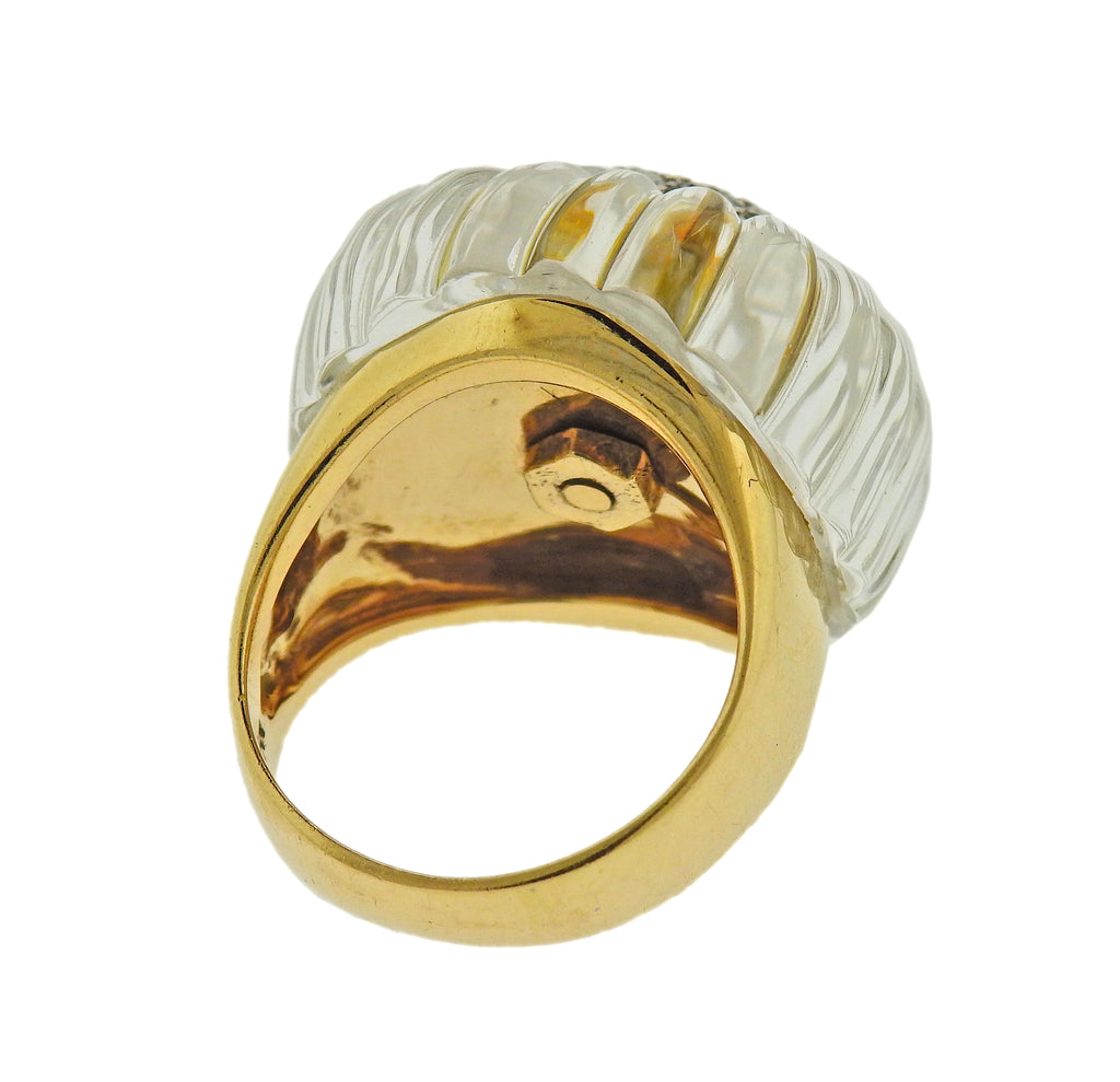 thumbnail image of Maz Carved Crystal Diamond Gold Ring