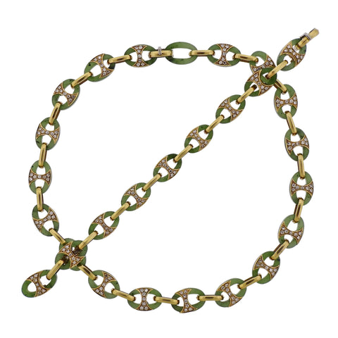 image of 1980s Nephrite Diamond Gold Link Necklace Bracelet Suite