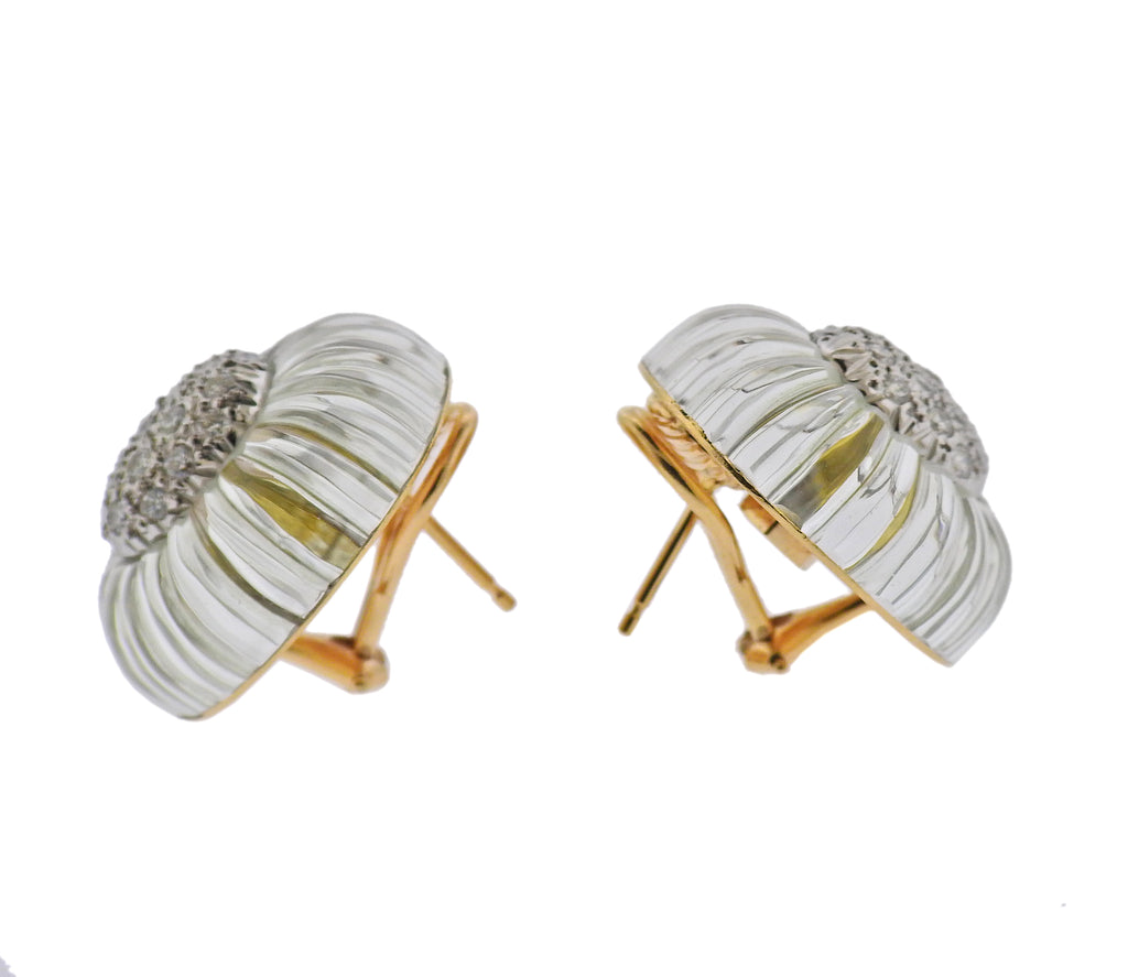 thumbnail image of Maz Carved Crystal Diamond Gold Earrings