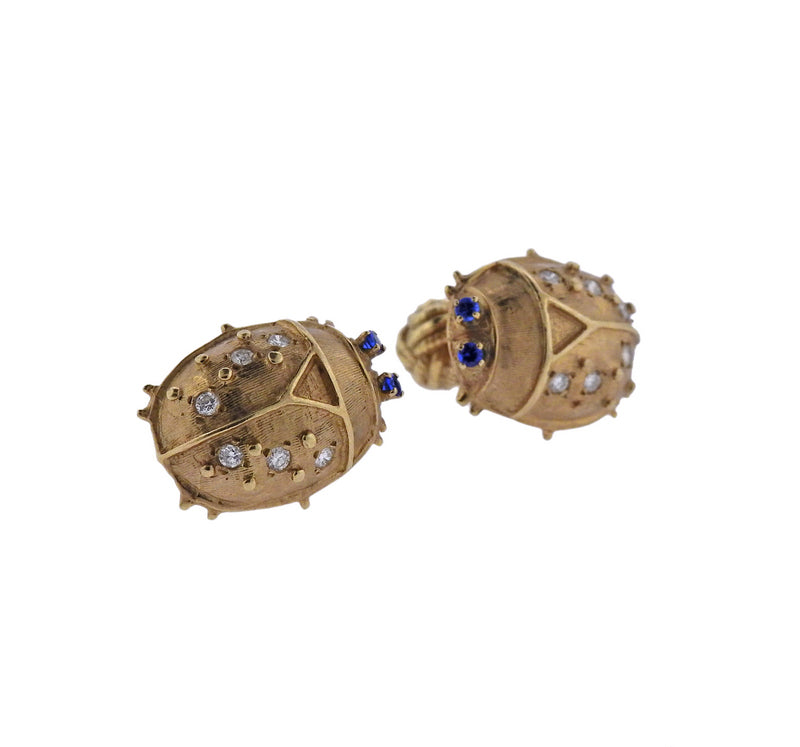 thumbnail image of Diamond Sapphire Gold Bug Cufflinks