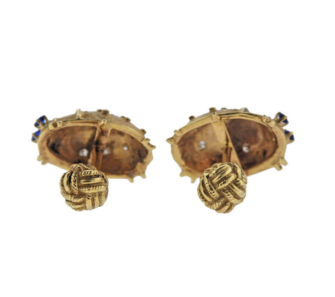 image of Diamond Sapphire Gold Bug Cufflinks