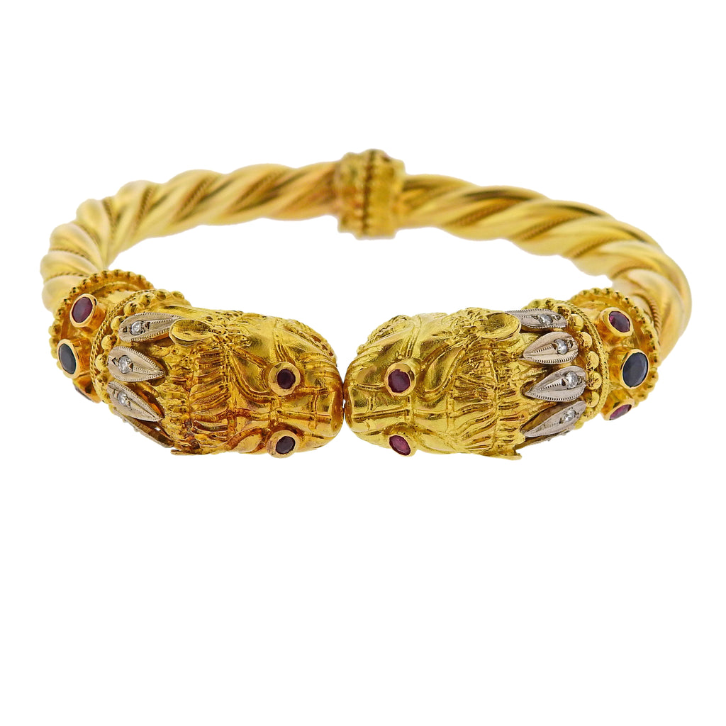 thumbnail image of Lalaounis Greece Diamond Sapphire Ruby Chimera Gold Bracelet