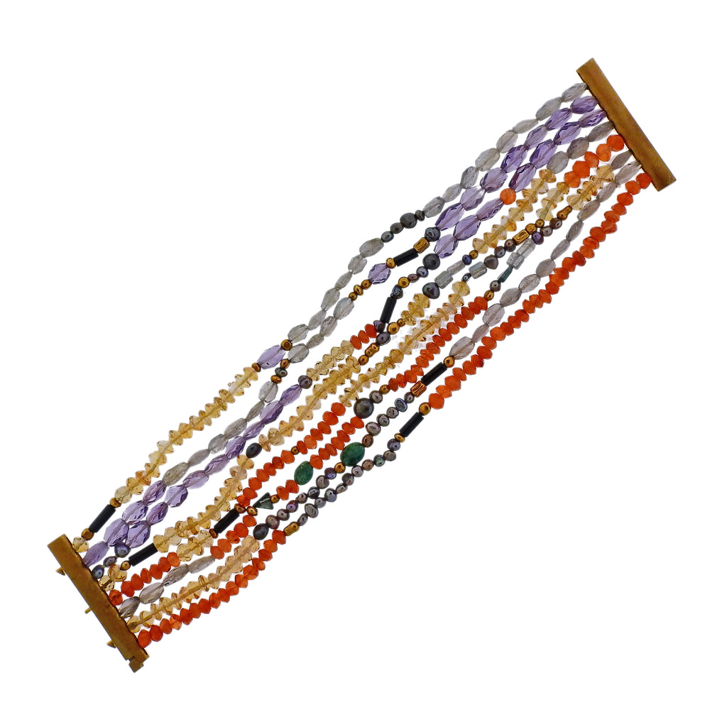 thumbnail image of Antonio Bernardo Multi Color Gemstone Gold Bracelet