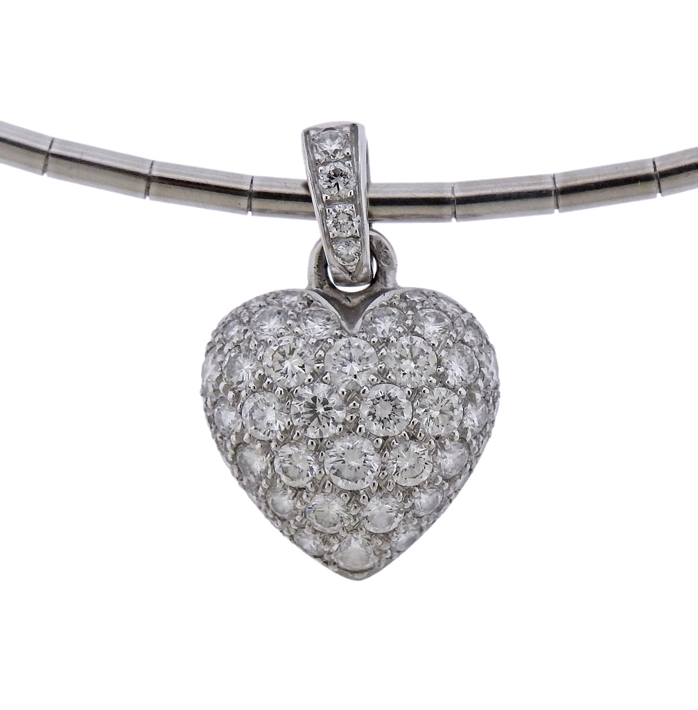 thumbnail image of Cartier Diamond Heart Pendant Gold Necklace