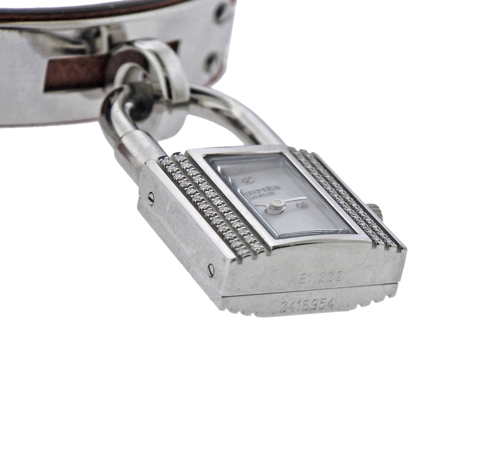 thumbnail image of Hermes Kelly Diamond Mother of Pearl Quartz Watch