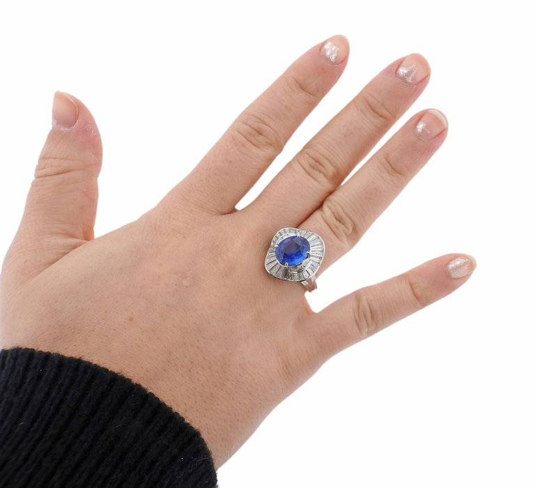 thumbnail image of Sapphire Diamond Platinum Cocktail Ring