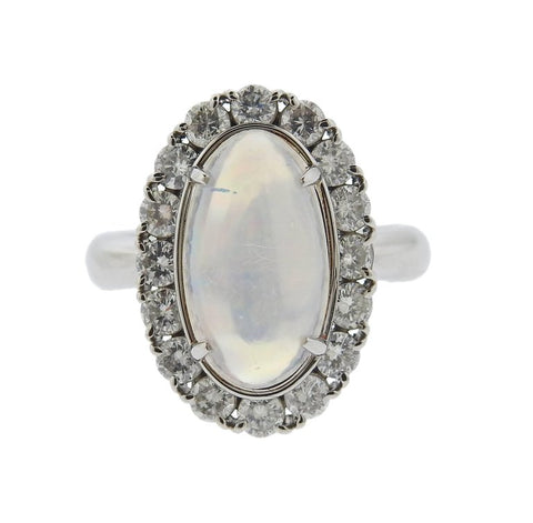 image of Opal Cabochon Diamond Platinum Ring