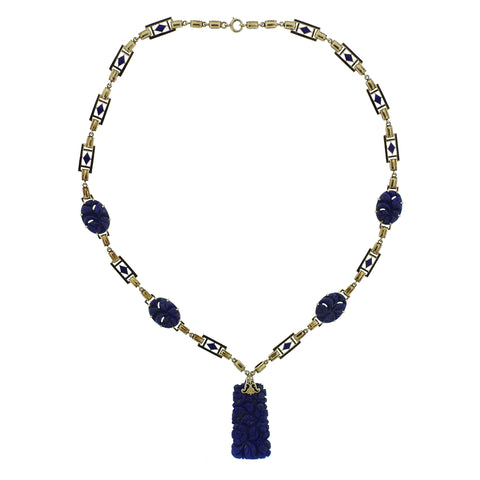 Art Deco Carved Lapis 14k Gold Necklace