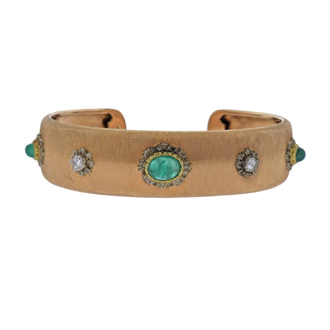 image of Buccellati Emerald Diamond Gold Cuff Bracelet
