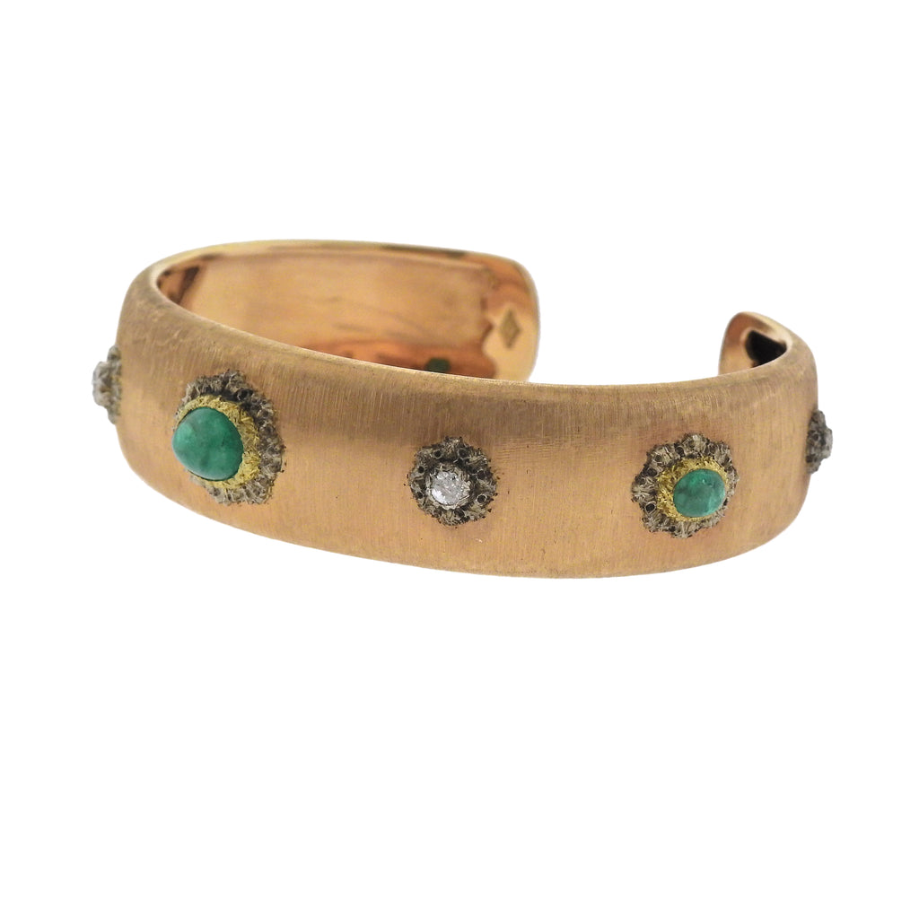 thumbnail image of Buccellati Emerald Diamond Gold Cuff Bracelet