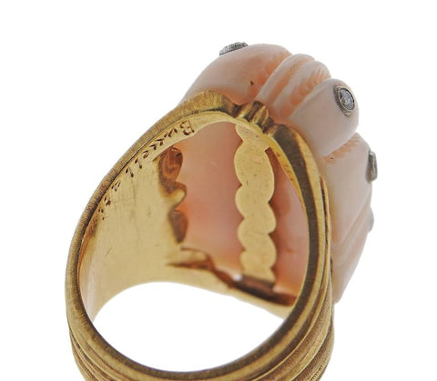 image of Exquisite Buccellati Carved Coral Diamond Gold Ring