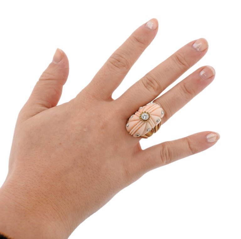 thumbnail image of Exquisite Buccellati Carved Coral Diamond Gold Ring