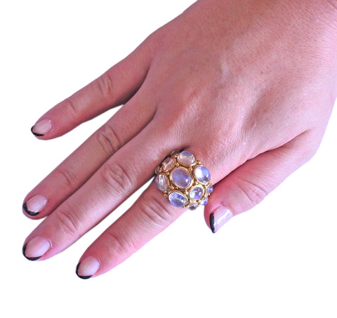 image of Temple St. Clair Moonstone Cabochon Gold Cocktail Ring