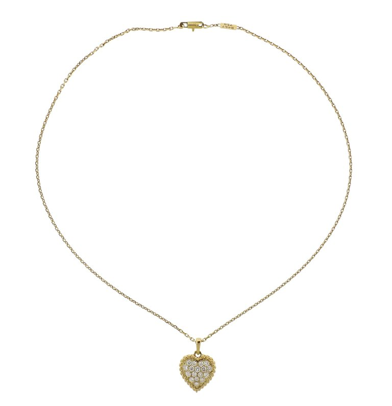 thumbnail image of Van Cleef & Arpels Diamond Heart Pendant Gold Necklace