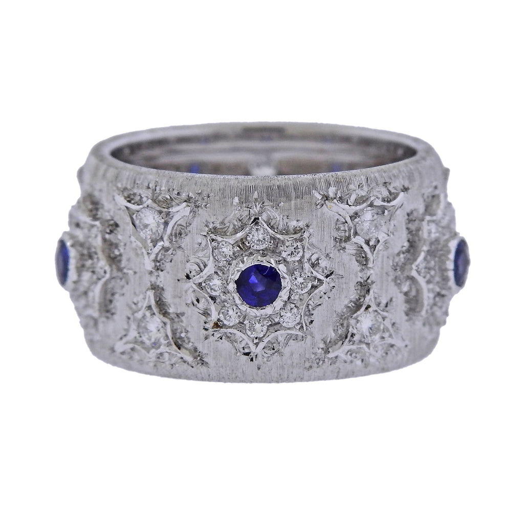 thumbnail image of Mario Buccellati Diamond Sapphire White Gold Wide Band Ring