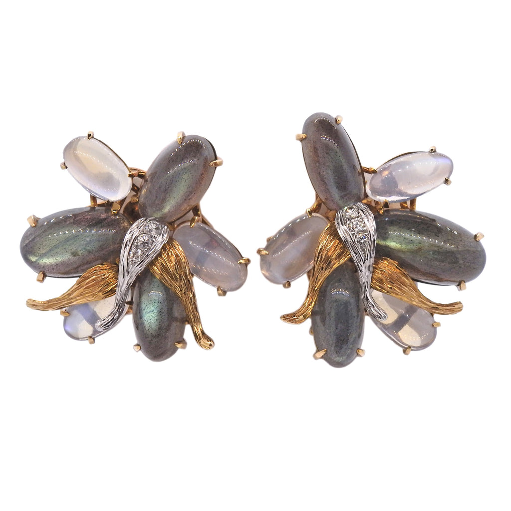 thumbnail image of Modernist Mid Century Labradorite Moonstone Diamond Gold Earrings