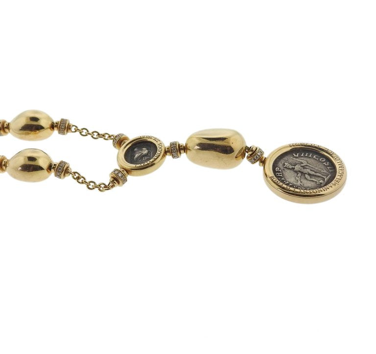 thumbnail image of Bulgari Monete Ancient Coin Diamond Gold Necklace