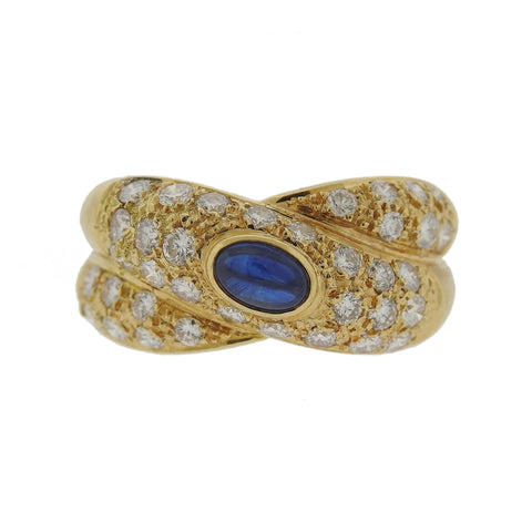 Vintage Cartier 18k Gold Diamond Sapphire Crossover Ring